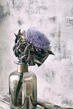 blühende Artischocke steht in einer Vase