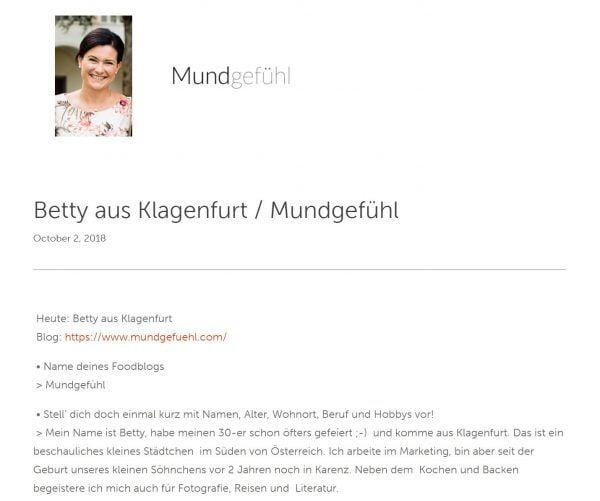 Interview mit Betty von Mundgefühl auf Germanfoodblogs.de
