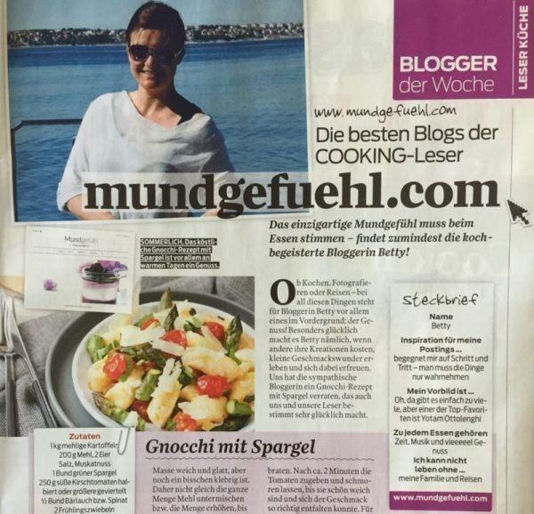 Artikel Blogger der Woche im Cooking Magazin über Betty vom Blog Mundgefühl