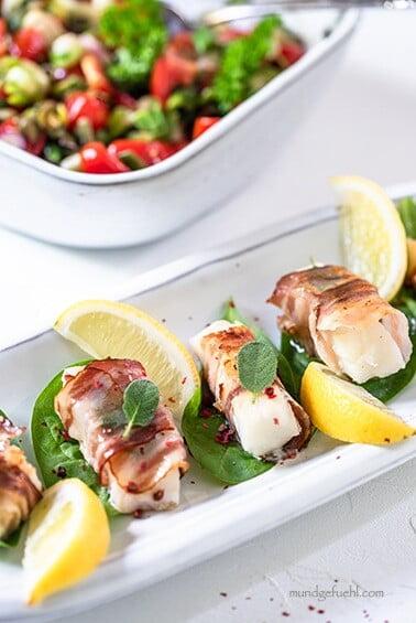 Saltimbocca vom Kabeljau mit mediterranem Ofengemüse