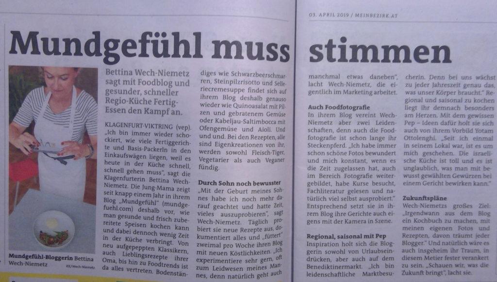 Betty von Mundgefühl.com gibt ein Interview in der Kärntner Woche