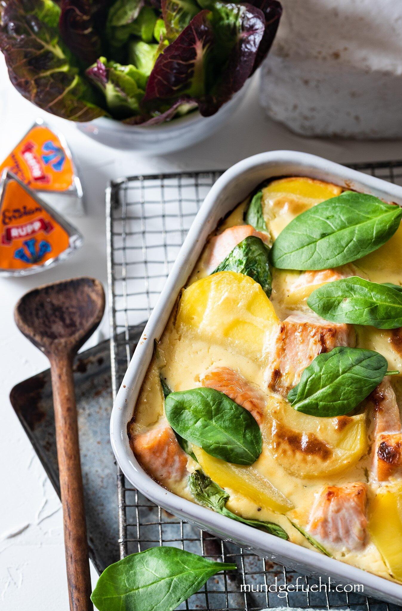 Kartoffel Lachs Auflauf mit Spinat