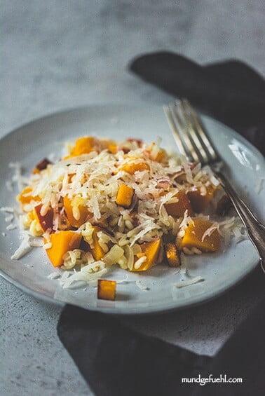 Risotto mit Kürbis und Speck aus dem Ofen